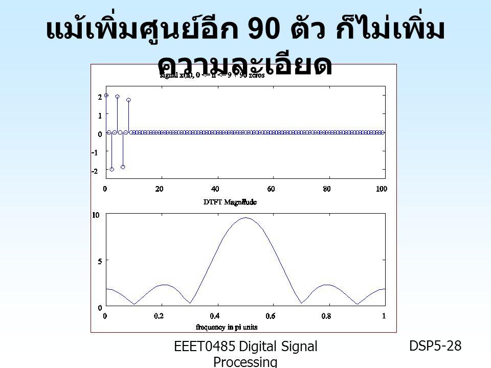 EEET0485 Digital Signal Processing DSP5-28 แม้เพิ่มศูนย์อีก 90 ตัว ก็ไม่เพิ่ม ความละเอียด