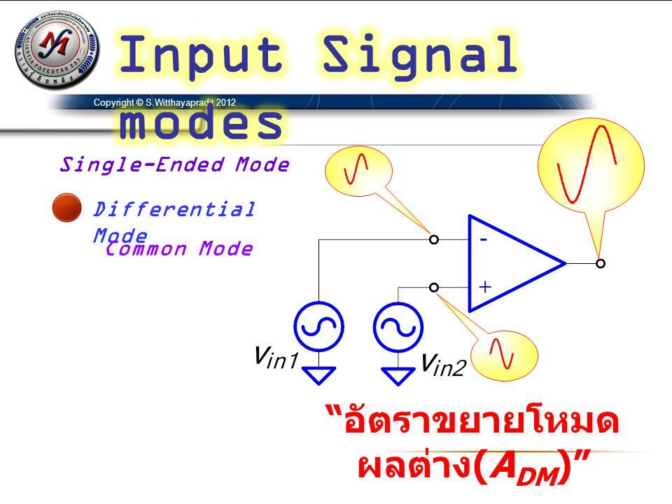 Copyright © S.Witthayapradit 2012 Single-Ended Mode Differential Mode Common Mode อัตราขยายโหมด ผลต่าง (A DM )