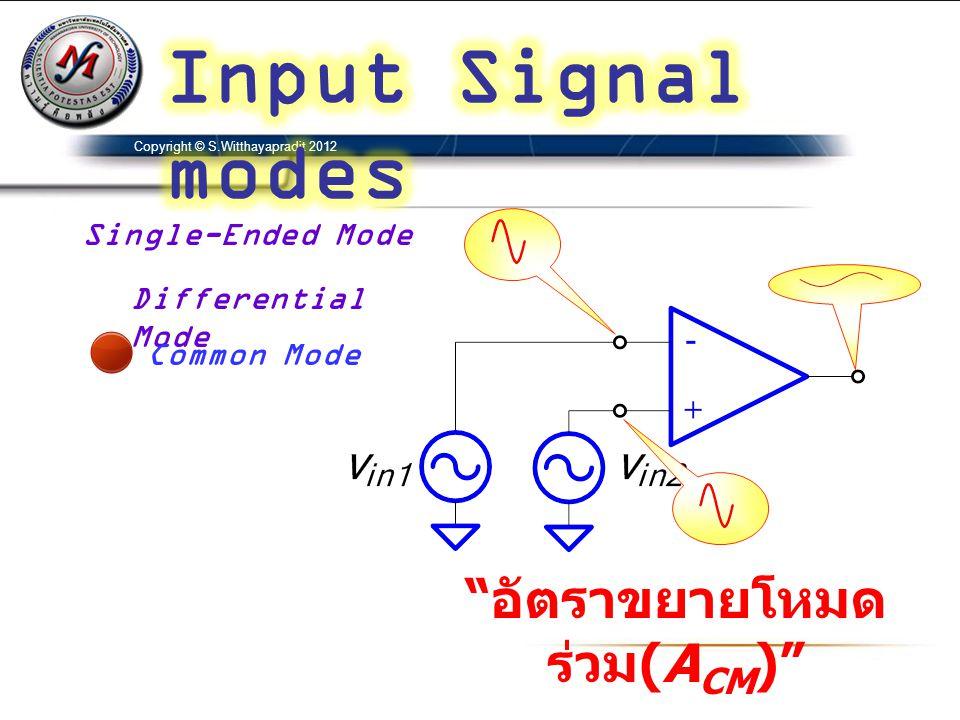 Copyright © S.Witthayapradit 2012 Single-Ended Mode Differential Mode Common Mode อัตราขยายโหมด ร่วม (A CM )