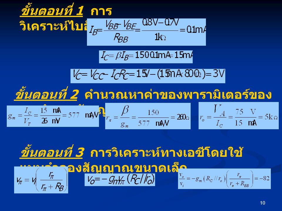 10 ขั้นตอนที่ 1 การ วิเคราะห์ไบอัส ขั้นตอนที่ 2 คำนวณหาค่าของพารามิเตอร์ของ แบบจำลองสัญญาณขนาดเล็ก ขั้นตอนที่ 3 การวิเคราะห์ทางเอซีโดยใช้ แบบจำลองสัญญาณขนาดเล็ก