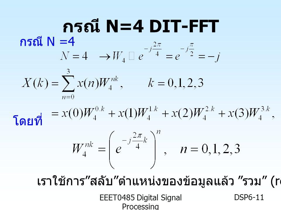 "EEET0485 Digital Signal Processing DSP6-11 กรณี N=4 DIT-FFT กรณี N =4 โดยที่ เราใช้การ "" สลับ "" ตำแหน่งของข้อมูลแล้ว "" รวม "" (recomposite)"