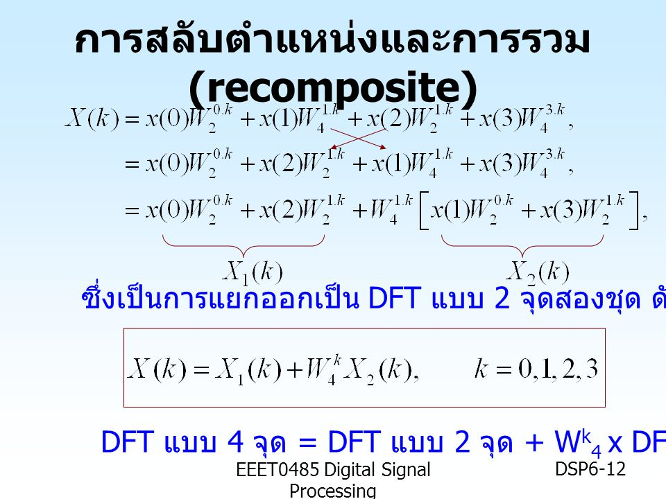 EEET0485 Digital Signal Processing DSP6-12 การสลับตำแหน่งและการรวม (recomposite) DFT แบบ 4 จุด = DFT แบบ 2 จุด + W k 4 x DFT แบบ 2 จุด ซึ่งเป็นการแยกอ