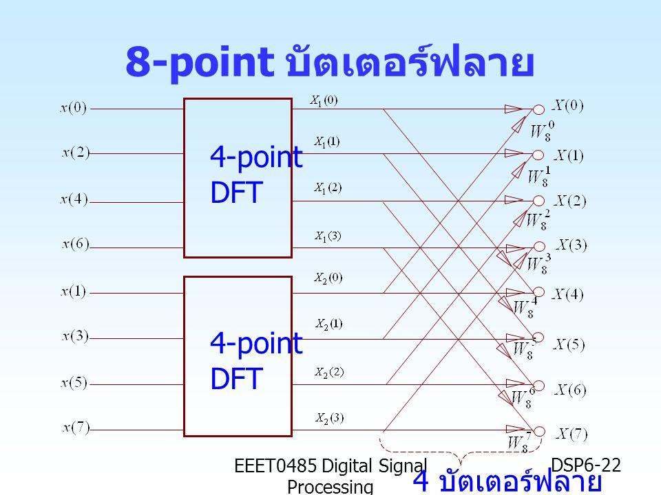EEET0485 Digital Signal Processing DSP6-22 8-point บัตเตอร์ฟลาย 4-point DFT 4-point DFT 4 บัตเตอร์ฟลาย