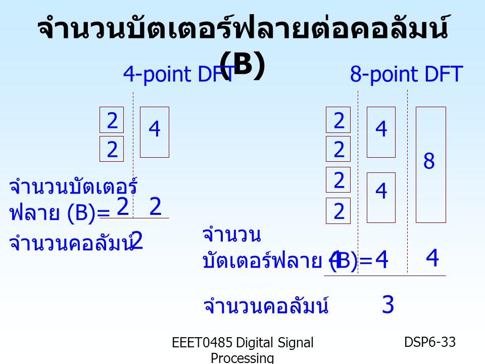 EEET0485 Digital Signal Processing DSP6-33 จำนวนบัตเตอร์ฟลายต่อคอลัมน์ (B) 4 2 2 4-point DFT 8 4 4 2 2 2 2 8-point DFT จำนวนคอลัมน์ 2 จำนวน บัตเตอร์ฟล