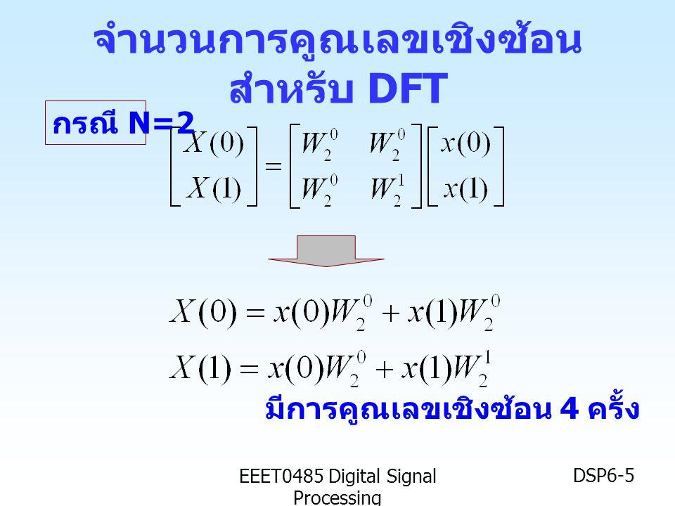 EEET0485 Digital Signal Processing DSP6-6 จำนวนการคูณเลขเชิงซ้อน สำหรับ DFT ( ต่อ ) มีการคูณเลขเชิงซ้อน 16 ครั้ง กรณี N=4