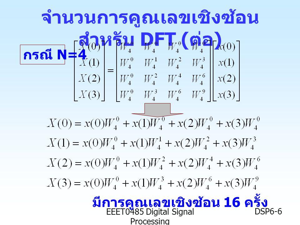 EEET0485 Digital Signal Processing DSP6-7 วิธีลดจำนวนการคูณเลขเชิงซ้อน ลองมาดูว่ากรณี N=2 เราได้ นั่นคือ เราได้