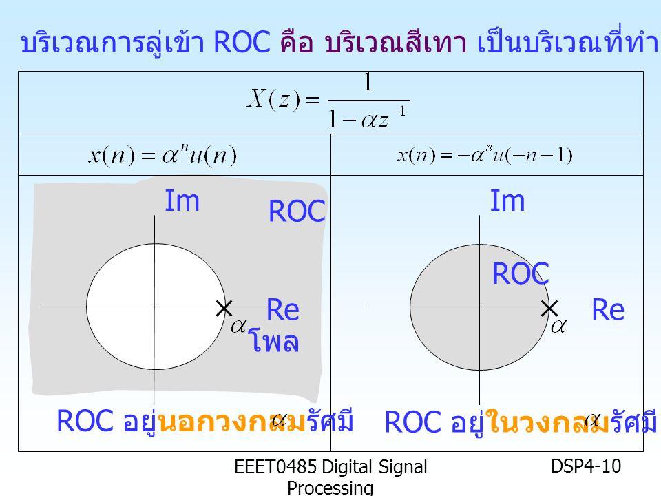 EEET0485 Digital Signal Processing DSP4-10 บริเวณการลู่เข้า ROC คือ บริเวณสีเทา เป็นบริเวณที่ทำให้สมการเป็นจริง Im Re Im Re ROC ROC อยู่นอกวงกลมรัศมี