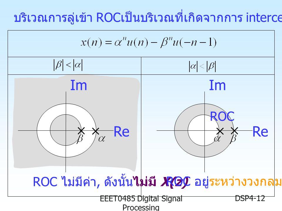 EEET0485 Digital Signal Processing DSP4-12 บริเวณการลู่เข้า ROC เป็นบริเวณที่เกิดจากการ interception ของ ROC ทั้งสอง Im Re Im Re ROC ROC ไม่มีค่า, ดัง