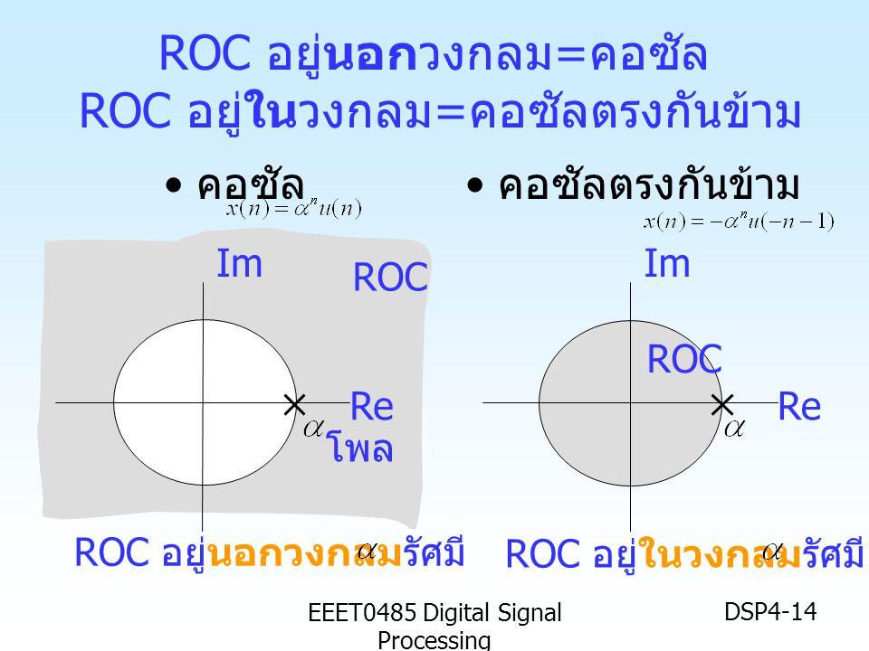 EEET0485 Digital Signal Processing DSP4-14 ROC อยู่นอกวงกลม = คอซัล ROC อยู่ในวงกลม = คอซัลตรงกันข้าม • คอซัล • คอซัลตรงกันข้าม Im Re Im Re ROC ROC อย