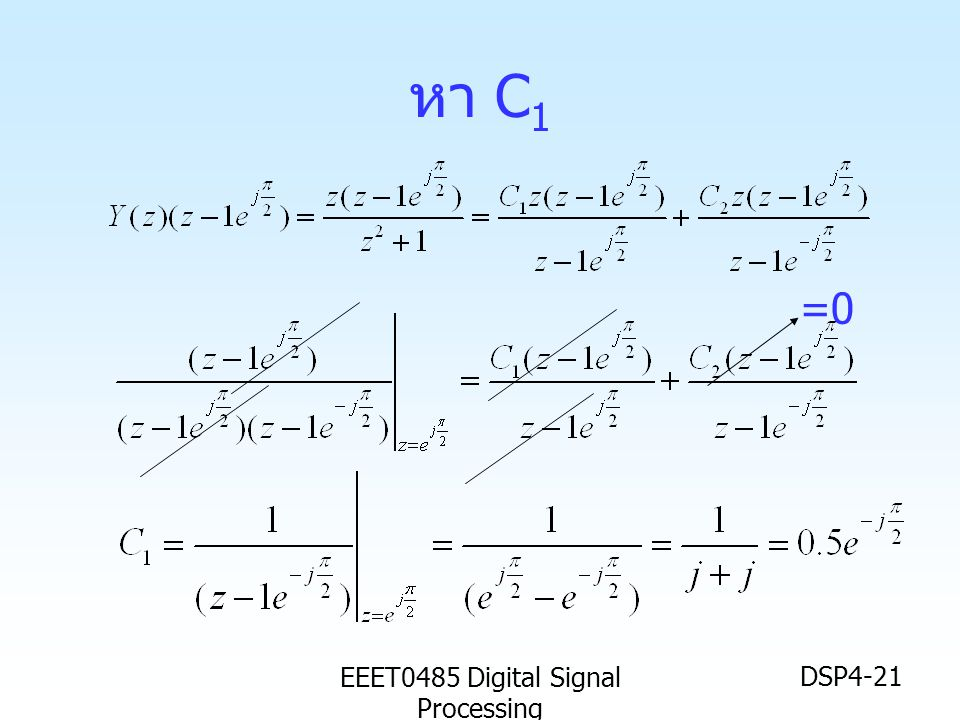 EEET0485 Digital Signal Processing DSP4-21 หา C 1 =0
