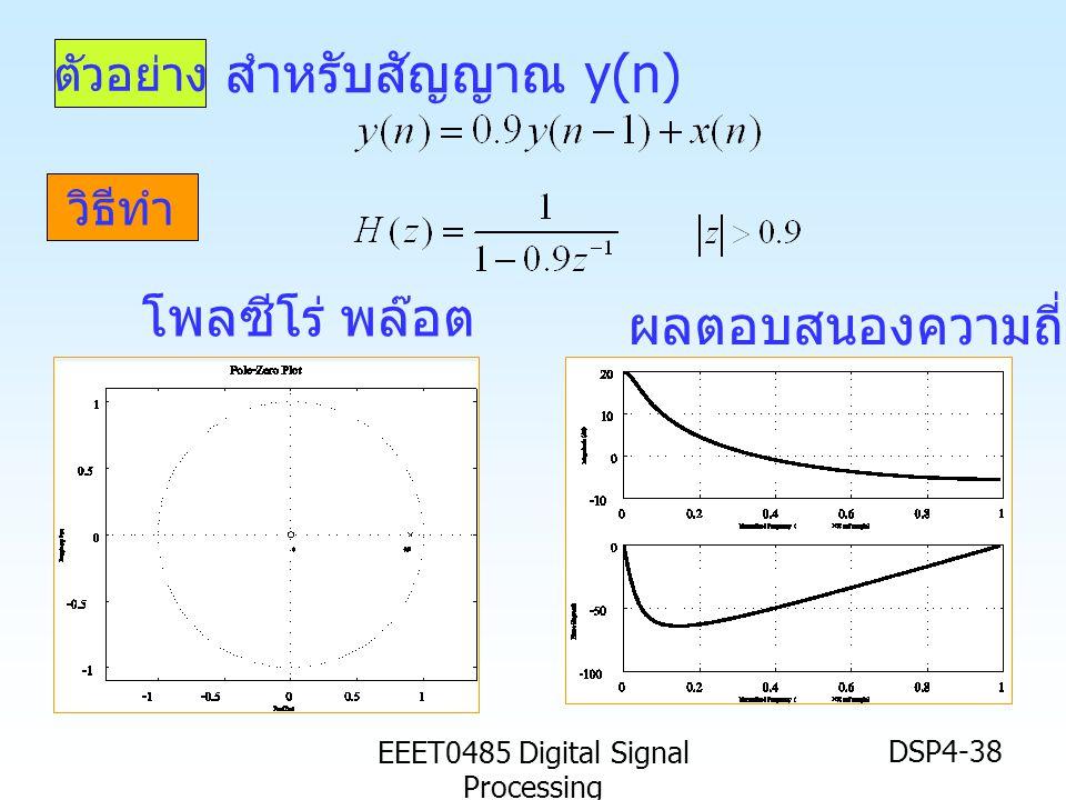 EEET0485 Digital Signal Processing DSP4-38 ตัวอย่าง วิธีทำ สำหรับสัญญาณ y(n) ผลตอบสนองความถี่ โพลซีโร่ พล๊อต