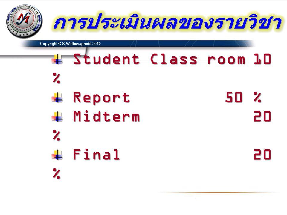 Student Class room10 % Student Class room10 % Report50 % Report50 % Midterm20 % Midterm20 % Final20 % Final20 % Copyright © S.Witthayapradit 2010