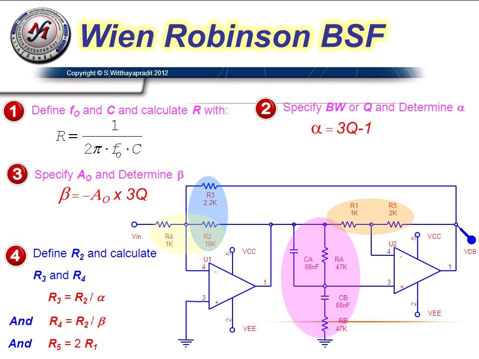 R2 18K R1 1K VCC U2 4 3 2 5 1 - + VCC RB 47K U1 4 3 2 5 1 - + RA 47K CB 68nF CA 68nF VEE R5 2K VDB Vin R3 2.2K VEE R4 1K Define f O and C and calculat