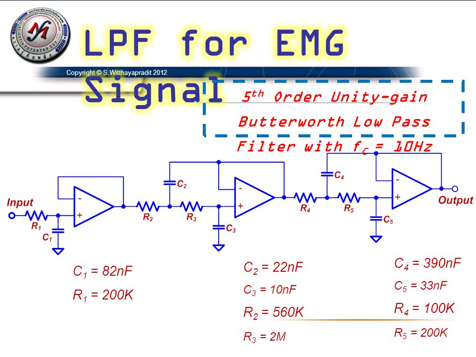 Copyright © S.Witthayapradit 2012 5 th Order Unity-gain Butterworth Low Pass Filter with f C = 10Hz C 1 = 82nF R 1 = 200K C 2 = 22nF C 3 = 10nF R 2 =