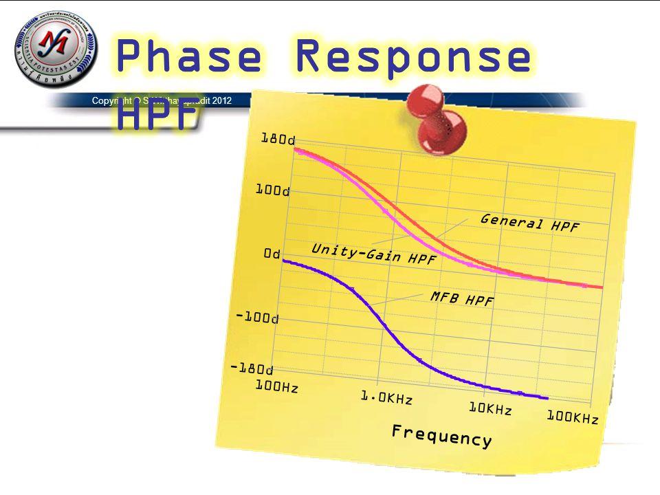 Copyright © S.Witthayapradit 2012 Frequency 100Hz 1.0KHz 10KHz100KHz -100d 0d 100d -180d 180d MFB HPF General HPF Unity-Gain HPF