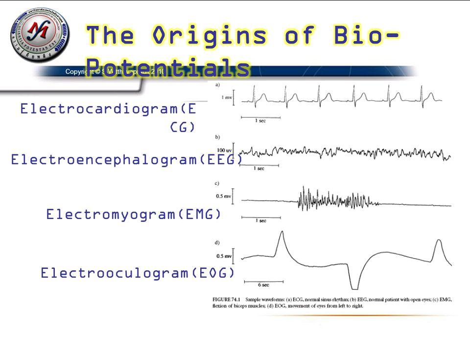 Electrocardiogram(E CG) Electroencephalogram(EEG) Electromyogram(EMG) Electrooculogram(EOG) Copyright © S.Witthayapradit 2010