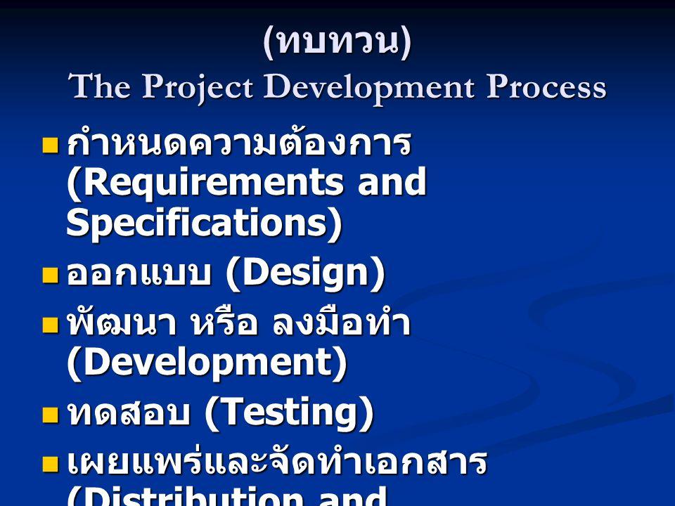 ( ทบทวน ) The Project Development Process  กำหนดความต้องการ (Requirements and Specifications)  ออกแบบ (Design)  พัฒนา หรือ ลงมือทำ (Development) 