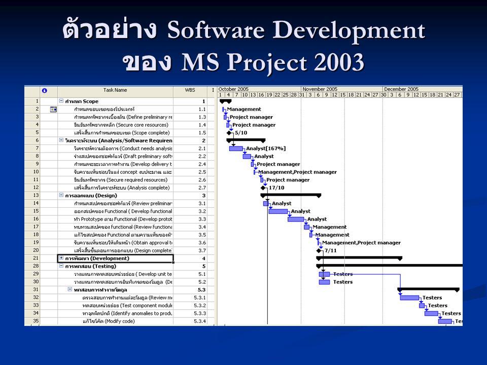 ตัวอย่าง Software Development ของ MS Project 2003