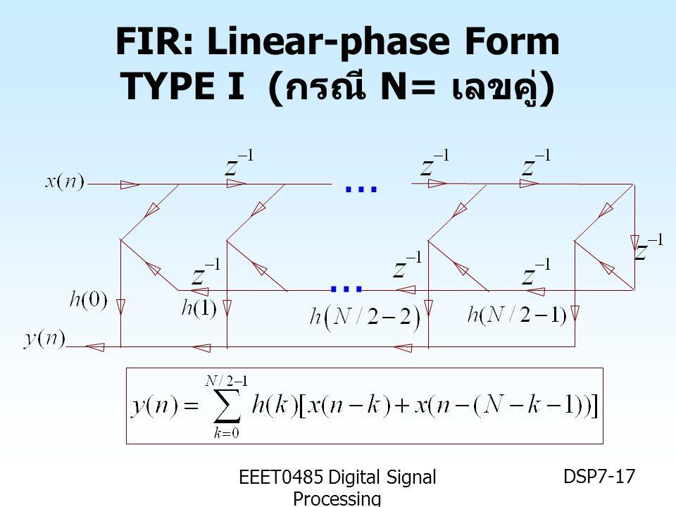 EEET0485 Digital Signal Processing DSP7-17 FIR: Linear-phase Form TYPE I ( กรณี N= เลขคู่ )...