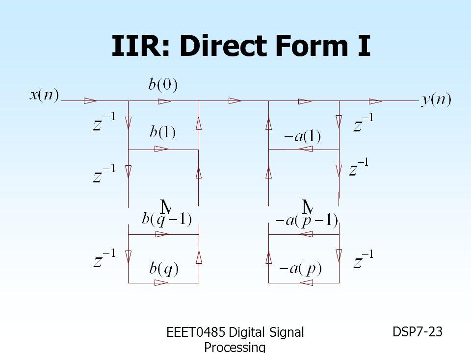 EEET0485 Digital Signal Processing DSP7-23 IIR: Direct Form I