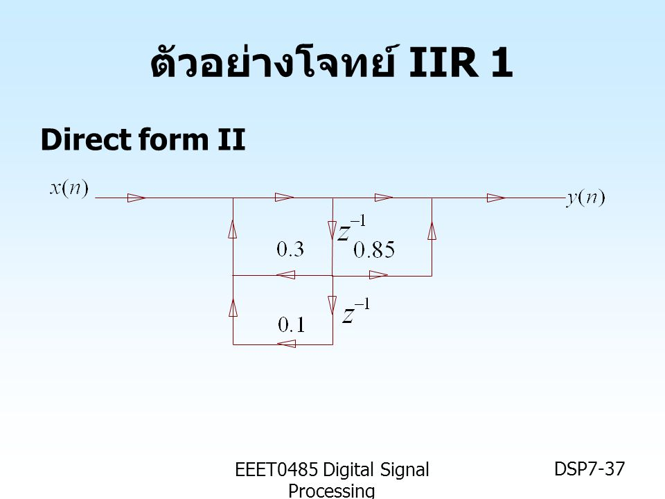 EEET0485 Digital Signal Processing DSP7-37 ตัวอย่างโจทย์ IIR 1 Direct form II