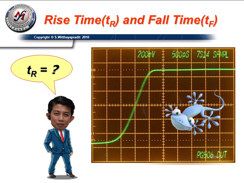 Copyright © S.Witthayapradit 2010 Rise Time(t R ) and Fall Time(t F ) t R = ?