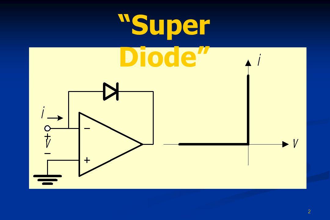 3 High-Precision Recifiter • เมื่อ v I < 0 ไดโอดจะ off ( เพราะถ้าไดโอด on จะทำให้ v O ~ v I < 0 และเกิดกระแส i D = i R < 0 ซึ่ง เป็นไปไม่ได้ ) ทำให้ v O = 0 และ v X = Av I < 0 ( A คือ อัตราขยาย แบบไม่มีการป้อนกลับของออปแอมป์ ) • จนกระทั่งเมื่อ v I = 0.7/A ( ซึ่งมีค่าเพียงไม่กี่มิลลิโวลต์ ) จะทำให้ v X = 0.7 V และส่งผลให้ไดโอดเริ่ม on • ต่อจากนี้ ถ้าเราเพิ่ม v I ต่อไปเรื่อย ๆ ไดโอดก็จะยังคง on ต่อไปและ ทำให้ v O ~ v I