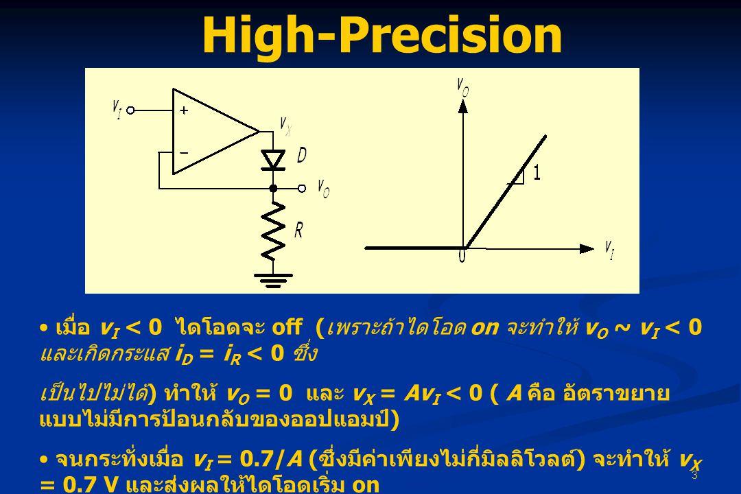 3 High-Precision Recifiter • เมื่อ v I < 0 ไดโอดจะ off ( เพราะถ้าไดโอด on จะทำให้ v O ~ v I < 0 และเกิดกระแส i D = i R < 0 ซึ่ง เป็นไปไม่ได้ ) ทำให้ v