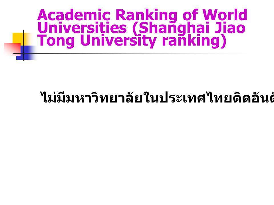 Academic Ranking of World Universities (Shanghai Jiao Tong University ranking) ไม่มีมหาวิทยาลัยในประเทศไทยติดอันดับ 1-500