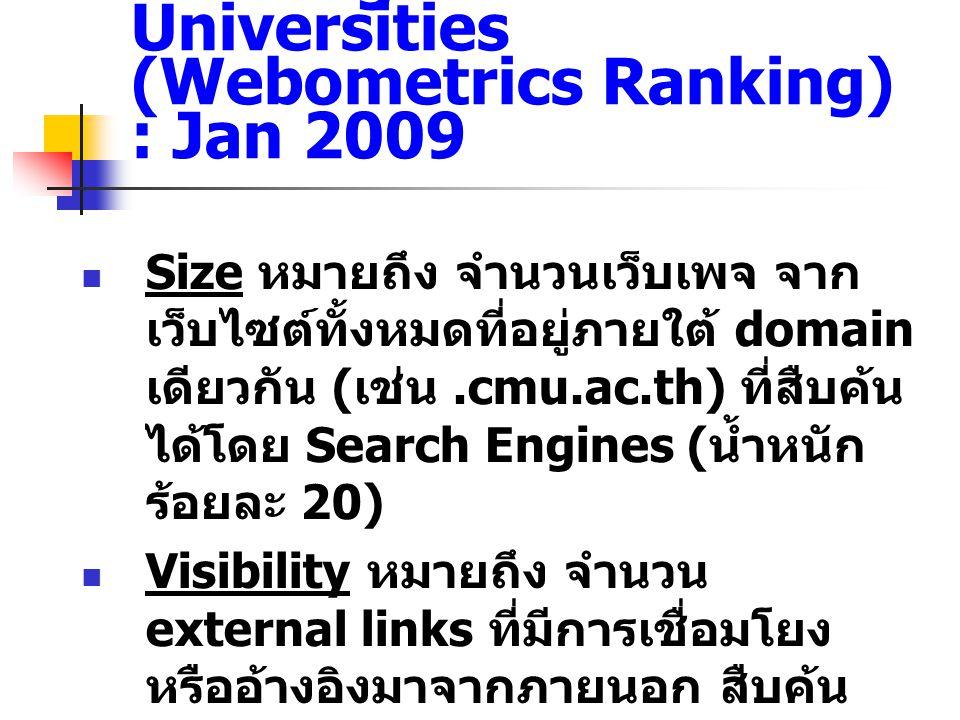 Ranking Web of World Universities (Webometrics Ranking) : Jan 2009  Size หมายถึง จำนวนเว็บเพจ จาก เว็บไซต์ทั้งหมดที่อยู่ภายใต้ domain เดียวกัน ( เช่น