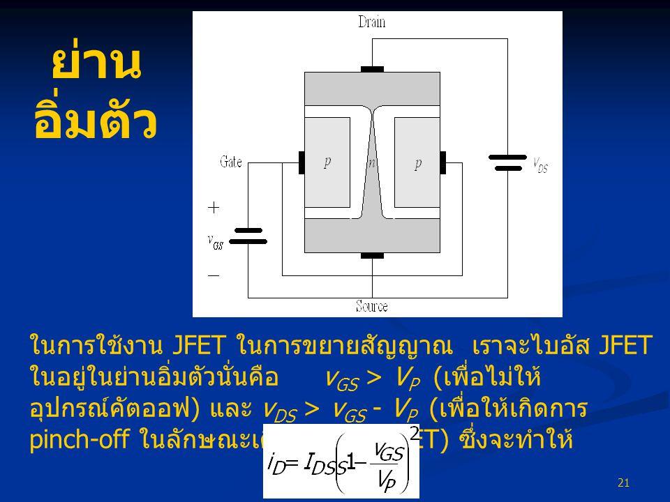21 ย่าน อิ่มตัว ในการใช้งาน JFET ในการขยายสัญญาณ เราจะไบอัส JFET ในอยู่ในย่านอิ่มตัวนั่นคือ v GS > V P ( เพื่อไม่ให้ อุปกรณ์คัตออฟ ) และ v DS > v GS -