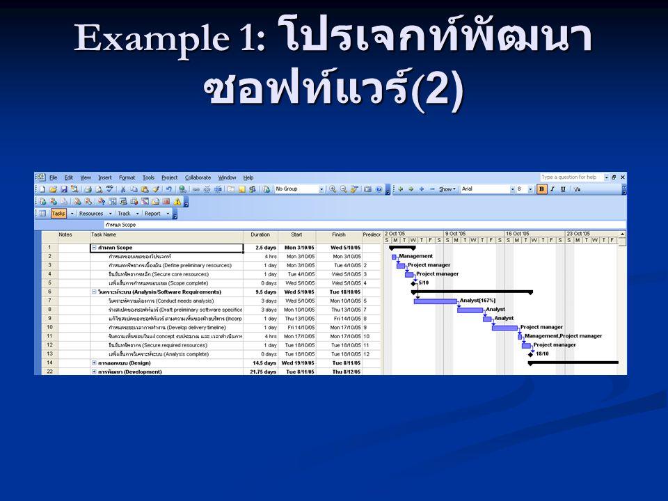 Example 1 : โปรเจกท์พัฒนา ซอฟท์แวร์ (2)