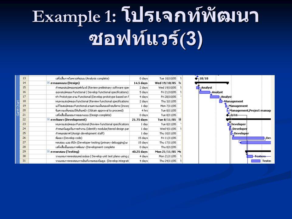 Example 1 : โปรเจกท์พัฒนา ซอฟท์แวร์ (3)