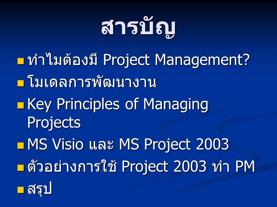 สารบัญ  ทำไมต้องมี Project Management?  โมเดลการพัฒนางาน  Key Principles of Managing Projects  MS Visio และ MS Project 2003  ตัวอย่างการใช้ Proje