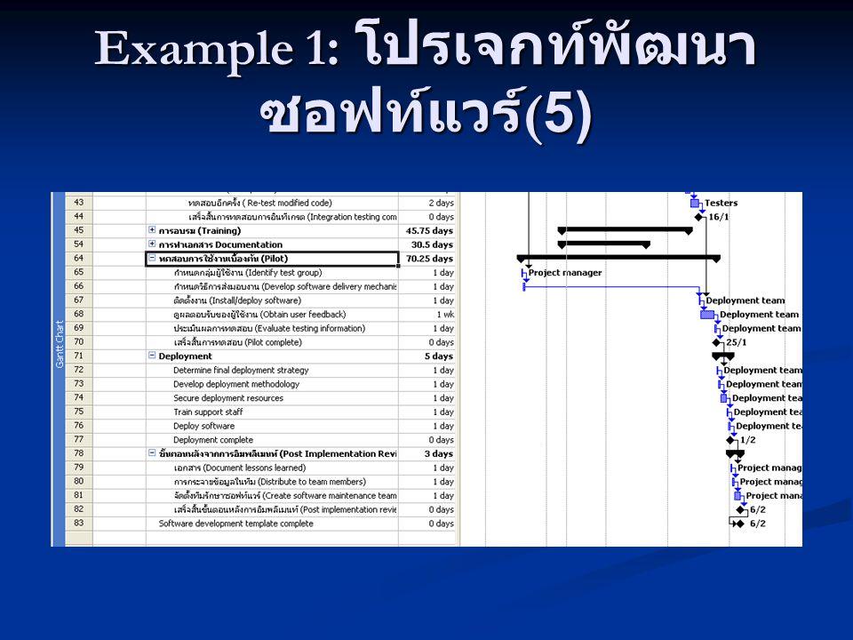 Example 1 : โปรเจกท์พัฒนา ซอฟท์แวร์ (5)
