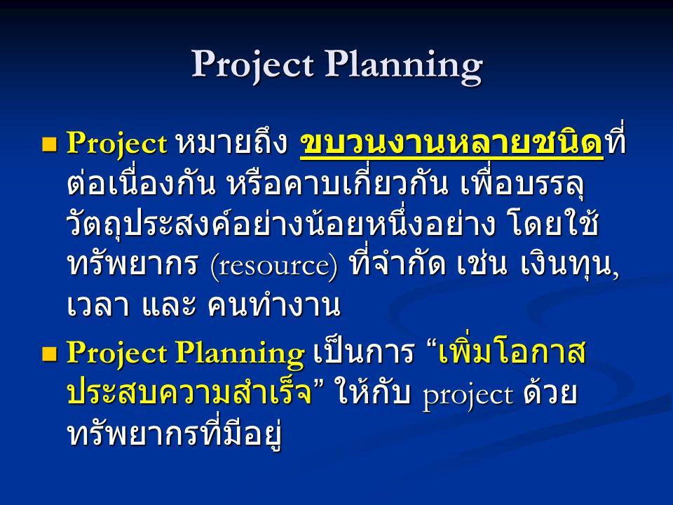 Project Planning  Project หมายถึง ขบวนงานหลายชนิดที่ ต่อเนื่องกัน หรือคาบเกี่ยวกัน เพื่อบรรลุ วัตถุประสงค์อย่างน้อยหนึ่งอย่าง โดยใช้ ทรัพยากร (resource) ที่จำกัด เช่น เงินทุน, เวลา และ คนทำงาน  Project Planning เป็นการ เพิ่มโอกาส ประสบความสำเร็จ ให้กับ project ด้วย ทรัพยากรที่มีอยู่