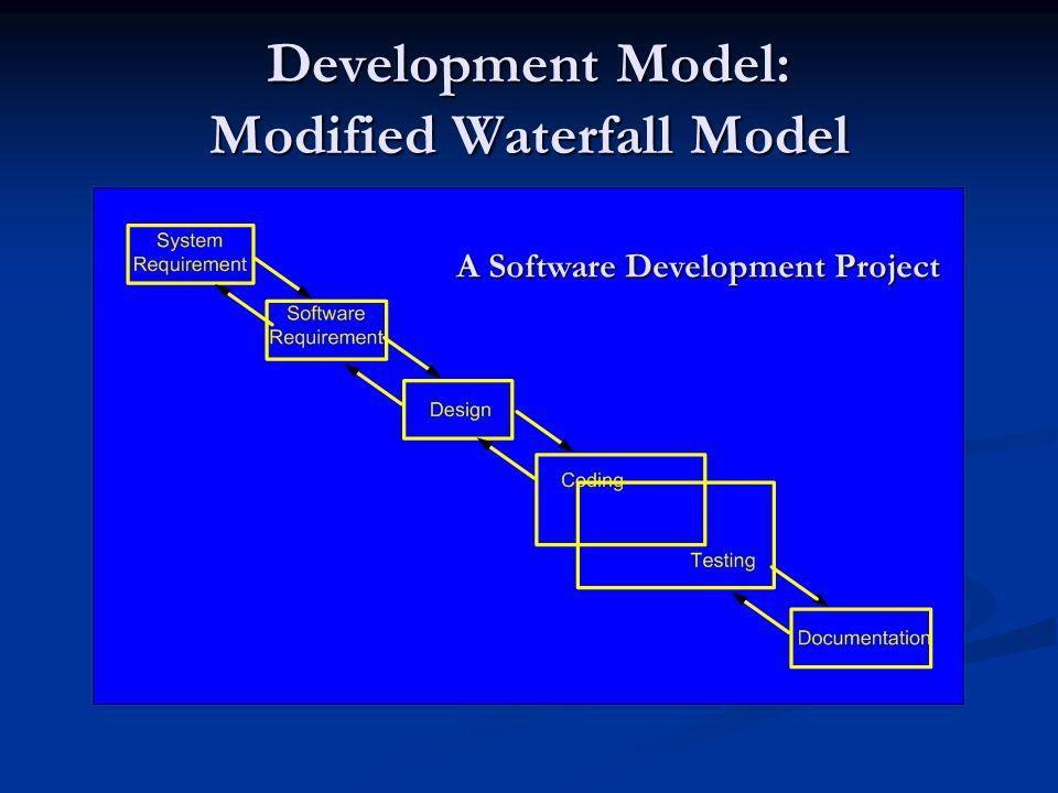 Development Model: Modified Waterfall Model A Software Development Project