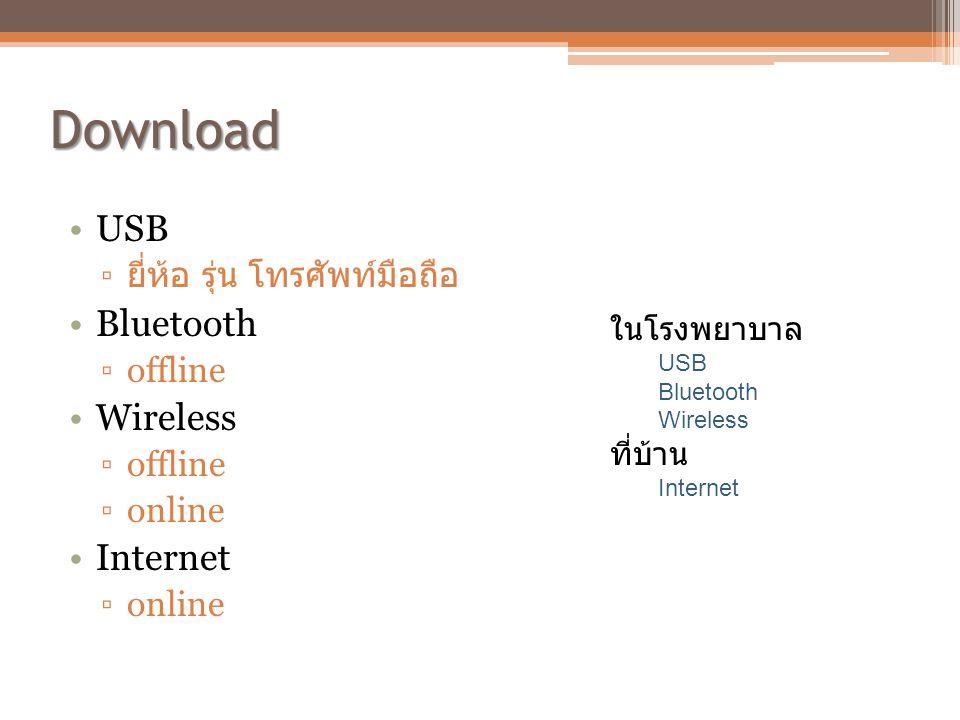 Download •USB ▫ ยี่ห้อ รุ่น โทรศัพท์มือถือ •Bluetooth ▫offline •Wireless ▫offline ▫online •Internet ▫online ในโรงพยาบาล USB Bluetooth Wireless ที่บ้าน