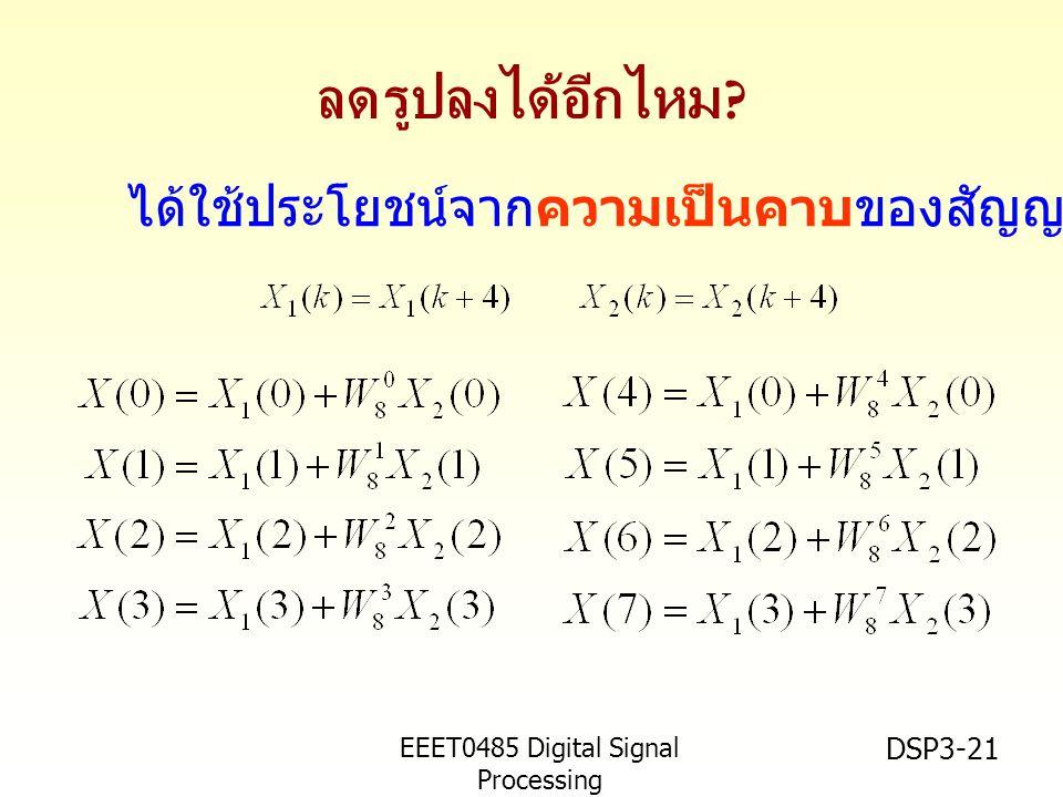 EEET0485 Digital Signal Processing Asst.Prof.Peerapol Yuvapoositanon DSP3-21 ลดรูปลงได้อีกไหม .