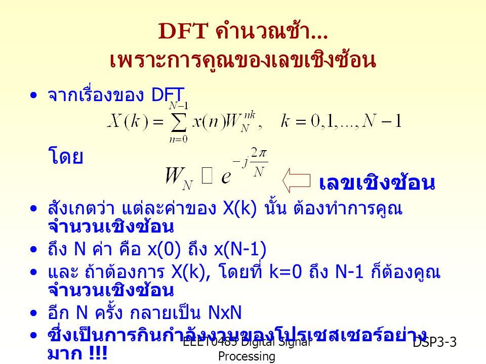 EEET0485 Digital Signal Processing Asst.Prof.Peerapol Yuvapoositanon DSP3-3 DFT คำนวณช้า...