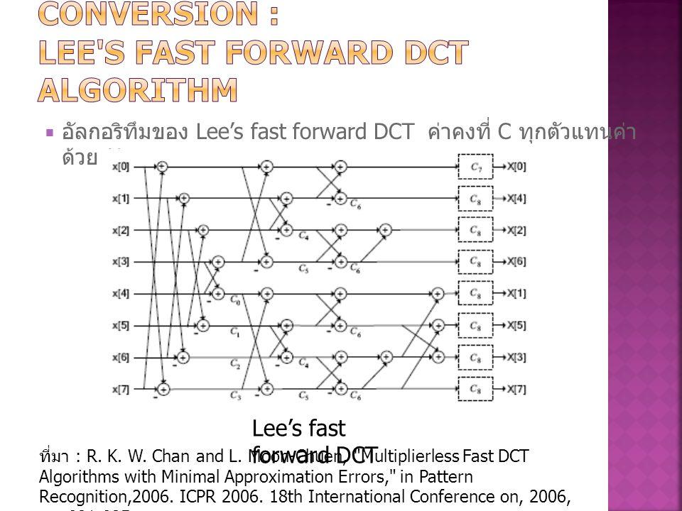  อัลกอริทึมของ Lee's fast forward DCT ค่าคงที่ C ทุกตัวแทนค่า ด้วย ½ Lee's fast forward DCT ที่มา : R. K. W. Chan and L. Moon-Chuen,