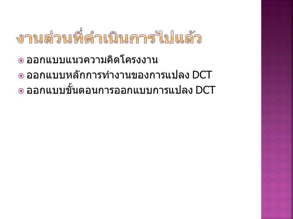  ออกแบบแนวความคิดโครงงาน  ออกแบบหลักการทำงานของการแปลง DCT  ออกแบบขั้นตอนการออกแบบการแปลง DCT