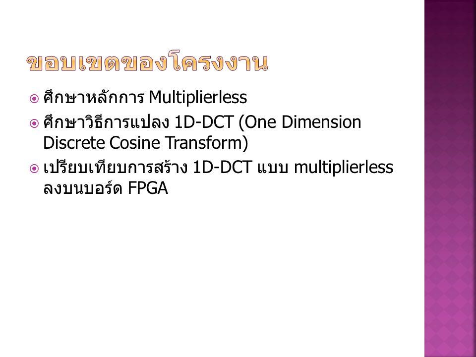  ศึกษาหลักการ Multiplierless  ศึกษาวิธีการแปลง 1D-DCT (One Dimension Discrete Cosine Transform)  เปรียบเทียบการสร้าง 1D-DCT แบบ multiplierless ลงบน