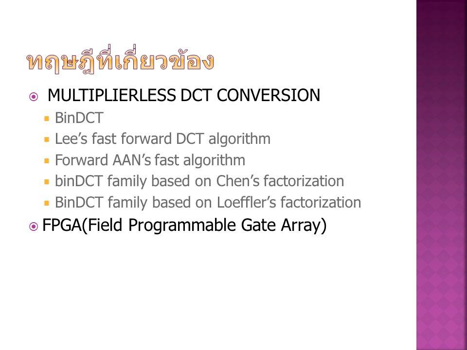  MULTIPLIERLESS DCT CONVERSION  BinDCT  Lee's fast forward DCT algorithm  Forward AAN's fast algorithm  binDCT family based on Chen's factorizati