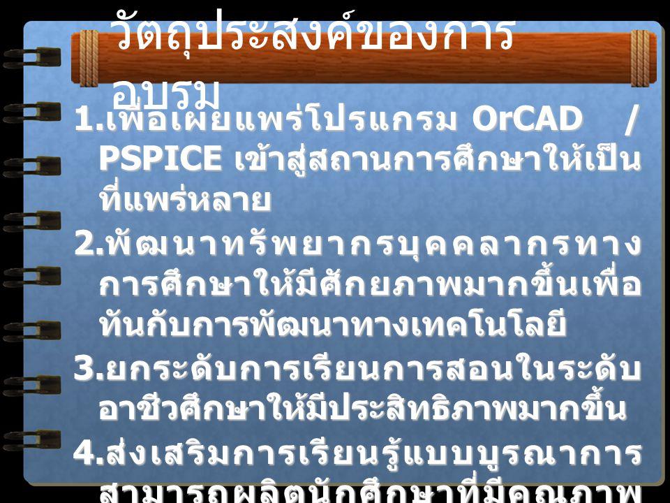 หัวข้อของการอบรม  การติดตั้งโปรแกรม OrCAD / PSPICE Version 9.10  การใช้โปรแกรมกับการตั้งค่าวิเคราะห์  การใช้แหล่งจ่ายแรงดัน / กระแสอิสระ  การใช้แหล่งจ่ายไม่อิสระ  การหาค่าแรงดัน / กระแส / กำลังงาน  การวิเคราะห์แบบปรับค่าตัวแปร  การหาพารามิเตอร์ของวงจรสมมูล  การหาค่าการส่งผ่านกำลังานสูงสุด  การหาผลตอบสนองทางความถี่  การหาผลลัพธ์ในสภาวะคงตัว