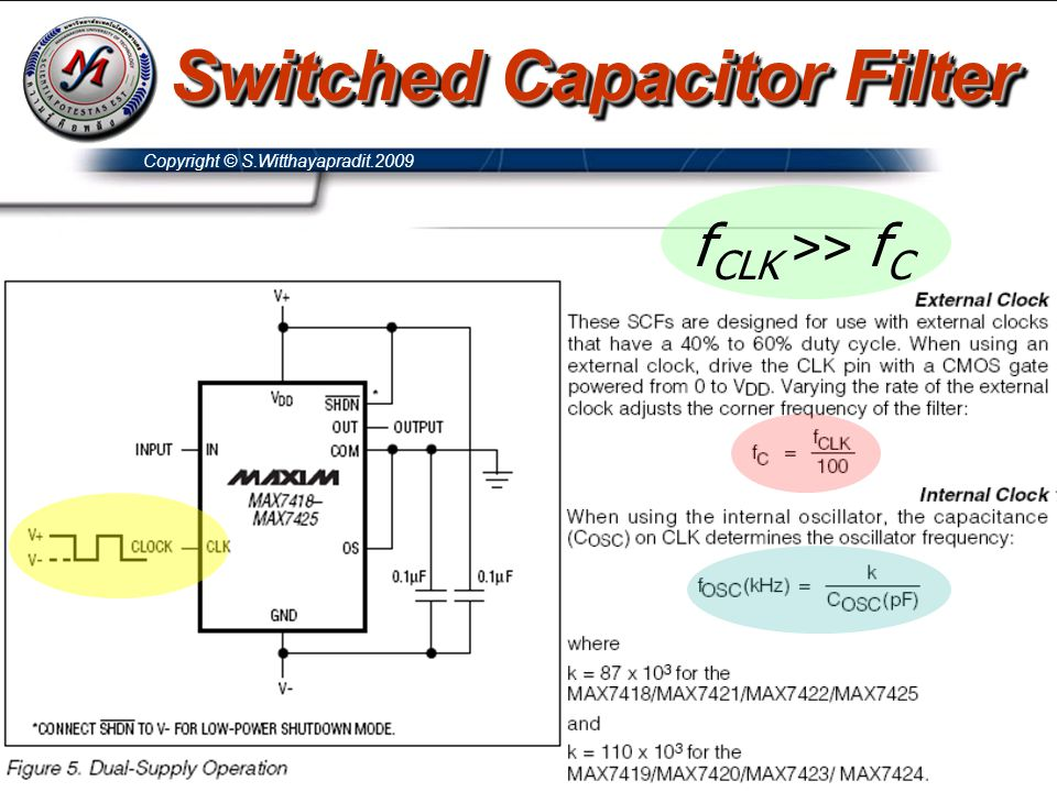 Copyright © S.Witthayapradit.2009 f CLK >> f C Switched Capacitor Filter
