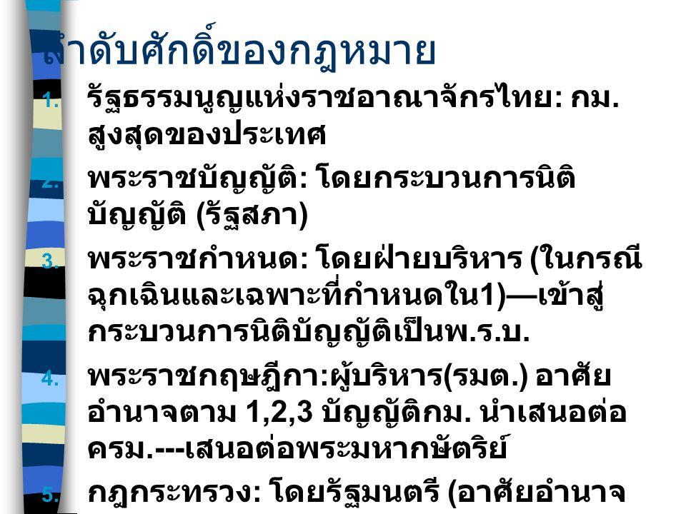 ลำดับศักดิ์ของกฎหมาย  รัฐธรรมนูญแห่งราชอาณาจักรไทย : กม. สูงสุดของประเทศ  พระราชบัญญัติ : โดยกระบวนการนิติ บัญญัติ ( รัฐสภา )  พระราชกำหนด : โดย