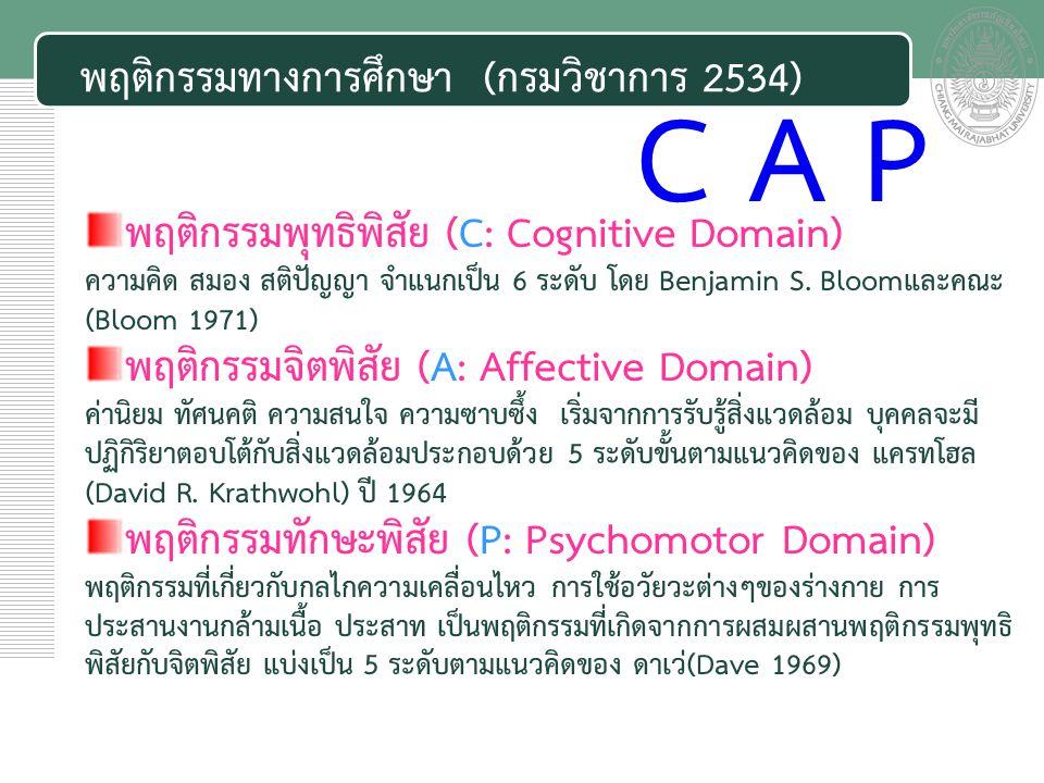 พฤติกรรมทางการศึกษา (กรมวิชาการ 2534) พฤติกรรมพุทธิพิสัย (C: Cognitive Domain) ความคิด สมอง สติปัญญา จำแนกเป็น 6 ระดับ โดย Benjamin S.