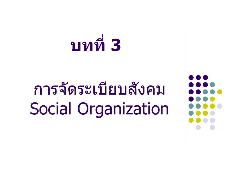 การจัดระเบียบสังคม หมายถึง การปฏิสัมพันธ์กันอย่างมี ระบบแบบแผนของสมาชิก เพื่อให้ สมาชิกอยู่ร่วมกันอย่างสงบสุข และ ทำงานร่วมกันเพื่อตอบสนองความ ต้องการพื้นฐานของสังคมได้ ทั้งนี้เพราะ การอยู่ร่วมกันในสังคมซึ่งมีสมาชิกเป็น จำนวนมาก จำเป็นต้องมีการจัดระบบเพื่อ ช่วยให้มนุษย์สามารถแบ่งงานกันทำและ บรรลุเป้าหมายร่วมกัน ซึ่งจะทำให้สมาชิกอยู่ ร่วมกันได้อย่างปกติสุข และทำให้มนุษย์อยู่ รอดได้