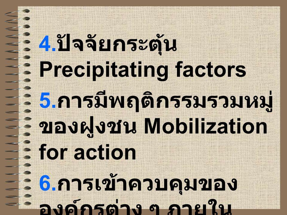 4. ปัจจัยกระตุ้น Precipitating factors 5. การมีพฤติกรรมรวมหมู่ ของฝูงชน Mobilization for action 6. การเข้าควบคุมของ องค์กรต่าง ๆ ภายใน สังคม Operation